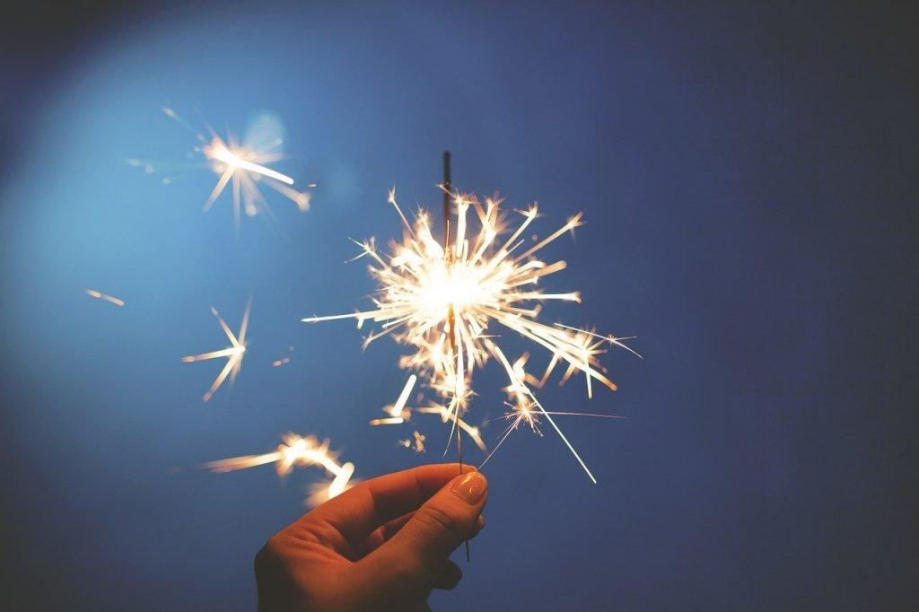 sparkler, fireworks, hand